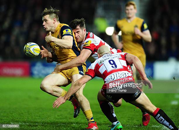 Jason Woodward of Bristol Rugby knocks the ball forward during the Aviva Premiership match between Gloucester Rugby and Bristol Rugby at Kingsholm...