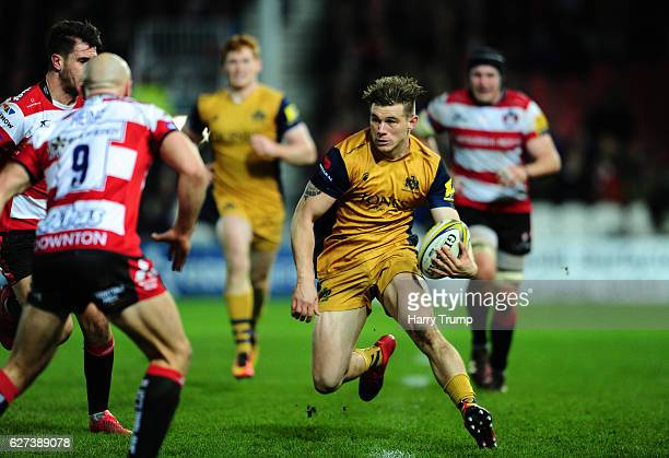 Jason Woodward of Bristol Rugby looks to break past Will Heinz of Gloucester Rugby during the Aviva Premiership match between Gloucester Rugby and...