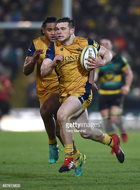 Jason Woodward of Bristol Rugby runs in to score a try during the Aviva Premiership match between Northampton Saints and Bristol Rugby at Franklin's...