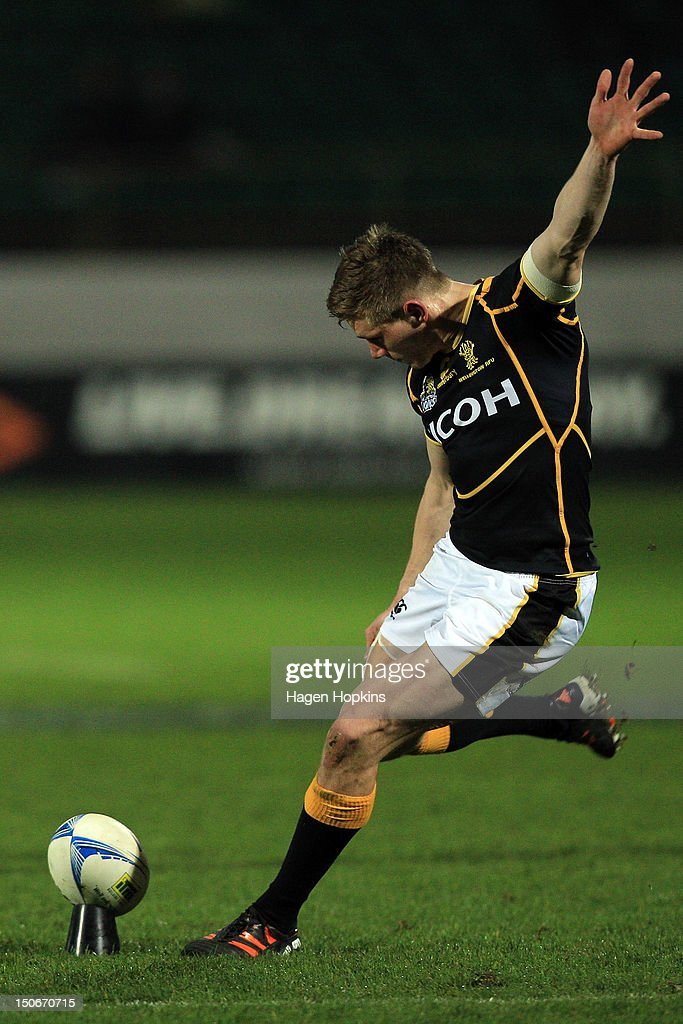 Jason Woodward of Wellington kicks during the round one ITM Cup match between Manawatu and Wellington at FMG Stadium on August 24, 2012 in Palmerston North, New Zealand.
