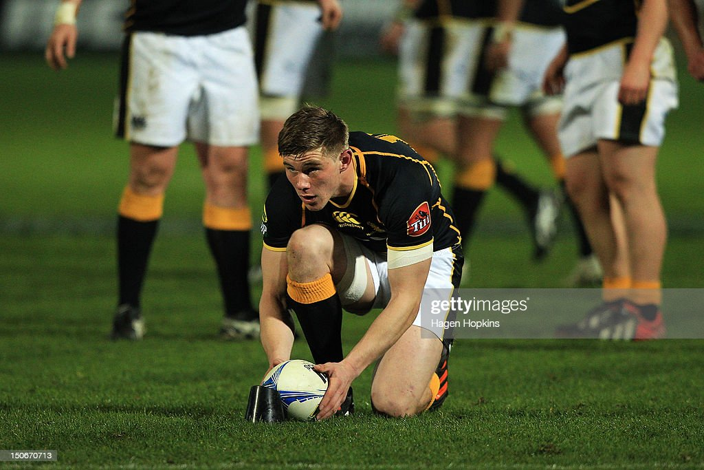 Jason Woodward of Wellington lines up a kick during the round one ITM Cup match between Manawatu and Wellington at FMG Stadium on August 24, 2012 in Palmerston North, New Zealand.