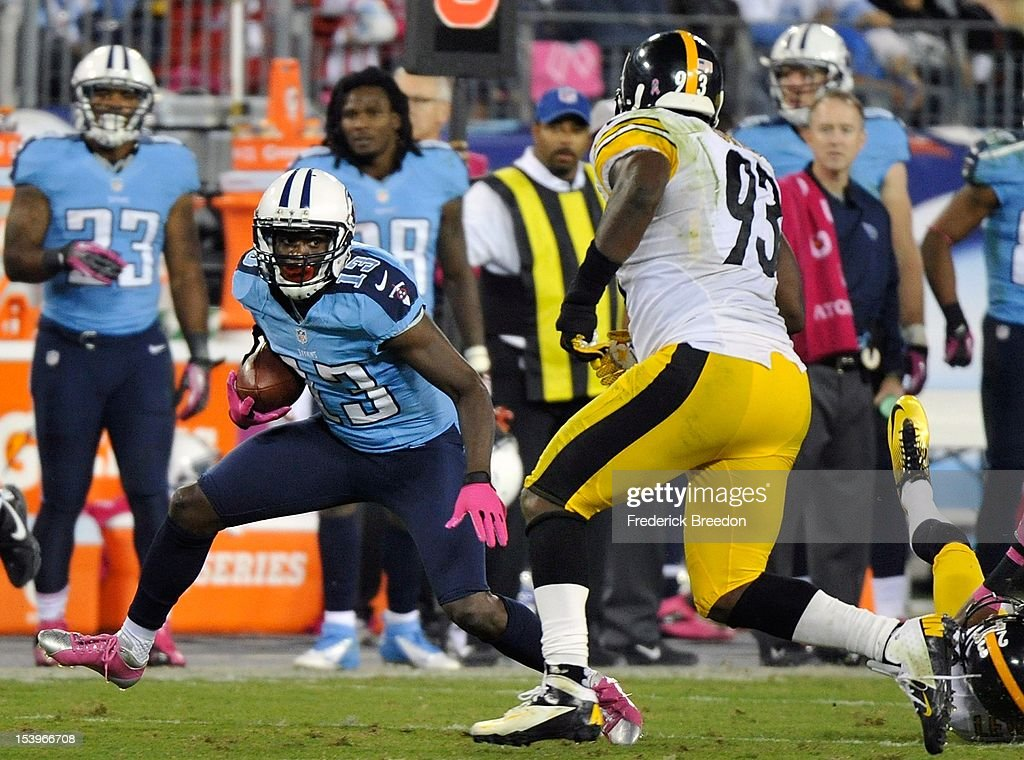 Jason Worlids #93of the Pittsburgh Steelers lines up wide receiver Kendall Wright #13 of the Tennessee Titans at LP Field on October 11, 2012 in Nashville, Tennessee.