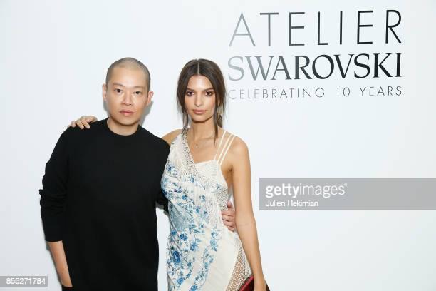 Jason Wu and Emily Ratajkowski attend the Atelier Swarovski By Jason Wu dinner as part of the Paris Fashion Week Womenswear Spring/Summer 2018 on...