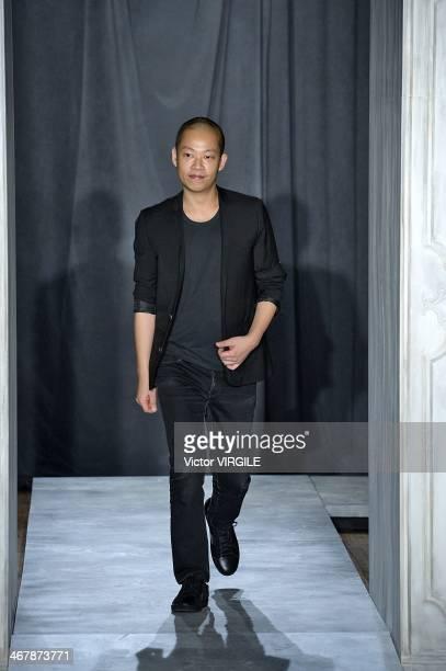 Jason Wu walks the runway at the Jason Wu Ready to Wear Fall/Winter 20142015 fashion show during MercedesBenz Fashion Week on February 7 2014 in New...