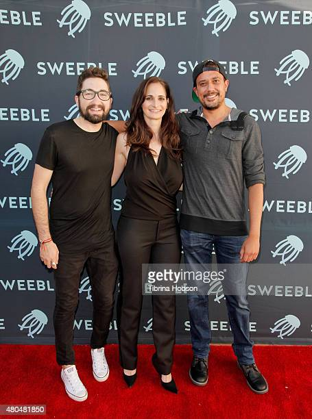 Jason Zuccari Amanda Micallef and Avi Dixit attend the Sweeble and Arsenic Magazine party on July 11 2015 in Studio City California