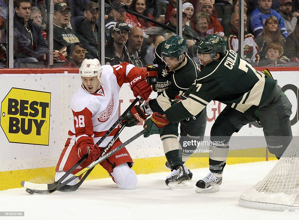 Jason Zucker #16 and Matt Cullen #7 of the Minnesota Wild look to get the puck away from Ian White #18 of the Detroit Red Wings during the first period of the game on February 17, 2013 at Xcel Energy Center in St Paul, Minnesota.