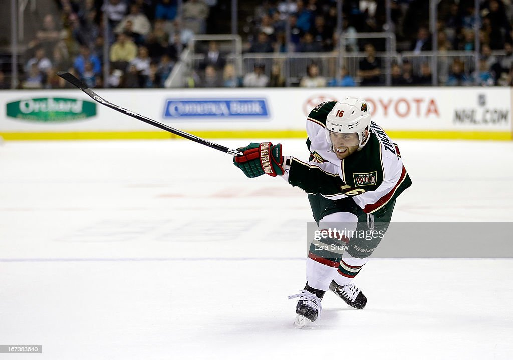 <a gi-track='captionPersonalityLinkClicked' href=/galleries/search?phrase=Jason+Zucker&family=editorial&specificpeople=6670470 ng-click='$event.stopPropagation()'>Jason Zucker</a> #16 of the Minnesota Wild in action against the San Jose Sharks at HP Pavilion on April 18, 2013 in San Jose, California.
