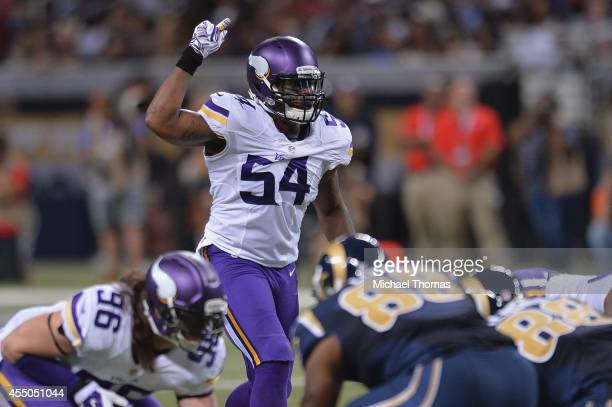 Jasper Brinkley of the Minnesota Vikings prepares for a play against the St Louis Rams at the Edward Jones Dome on September 7 2014 in St Louis...
