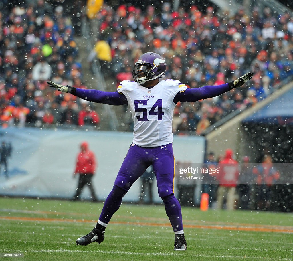 <a gi-track='captionPersonalityLinkClicked' href=/galleries/search?phrase=Jasper+Brinkley&family=editorial&specificpeople=4032417 ng-click='$event.stopPropagation()'>Jasper Brinkley</a> #54 of the Minnesota Vikings reacts to a missed field goal by the Chicago Bears during the first quarter on November 16, 2014 at Soldier Field in Chicago, Illinois.