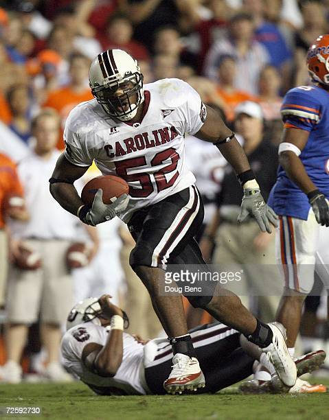 Jasper Brinkley of the South Carolina Gamecocks carries the ball during the game against the University of Florida Gators at Ben Hill Griffin Stadium...
