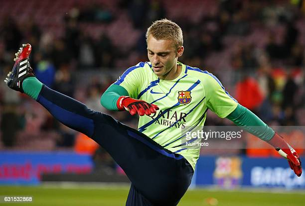 Jasper Cillessen during the King Cup match between FC Barcelona v Athletic Club Bilbao in Barcelona on January 11 2017