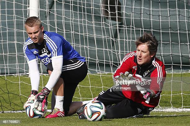 Jasper Cillessen Edwin van de Sar during a training of Ajax on January 11 2014 in Belek Turkey during the training camp of Ajax on January 7 2014 at...