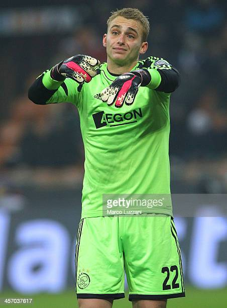 Jasper Cillessen of Ajax Amsterdam gestures during the UEFA Champions League Group H match between AC Milan and Ajax Amsterdam at Stadio Giuseppe...
