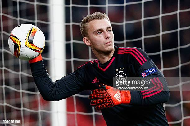 Jasper Cillessen of Ajax in action during the group A UEFA Europa League match between AFC Ajax and Molde FK held at Amsterdam Arena on December 10...