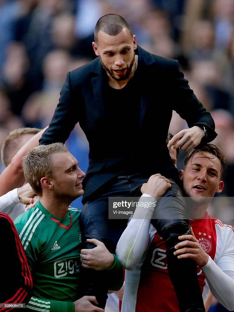 Jasper Cillessen of Ajax, John Heitinga of Ajax, Nemanja Gudelj of Ajax during the Dutch Eredivisie match between Ajax Amsterdam and Feyenoord Rotterdam at the Amsterdam Arena on February 07, 2016 in Amsterdam, The Netherlands