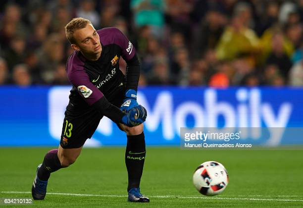 Jasper Cillessen of Barcelona in action during the Copa del Rey semifinal second leg match between FC Barcelona and Atletico de Madrid at Camp Nou on...