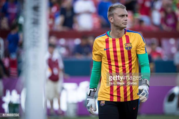 Jasper Cillessen of Barcelona warming up during the International Champions Cup match between FC Barcelona and Manchester United at the FedEx Field...