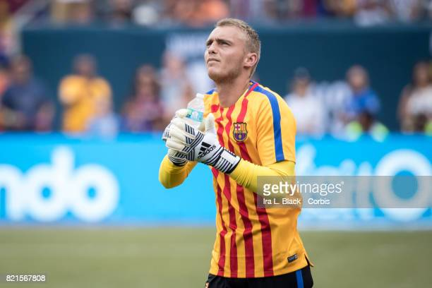 Jasper Cillessen of Barcelona warms up prior to the International Champions Cup match between FC Barcelona and Juventus at the MetLife Stadium on...