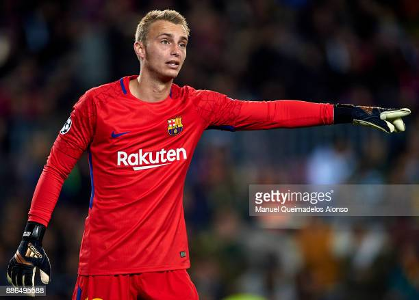 Jasper Cillessen of FC Barcelona reacts during the UEFA Champions League group D match between FC Barcelona and Sporting CP at Camp Nou on December 5...