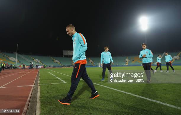 Jasper Cillessen of Netherlands with his team mates on the pitch during the FIFA 2018 World Cup Qualifier Group A match between Bulgaria and...