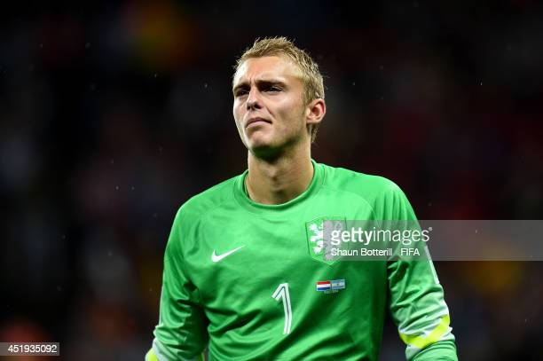 Jasper Cillessen of the Netherlands shows his dejeciton while walking off the pitch after the defeat in a penalty shootout in the 2014 FIFA World Cup...