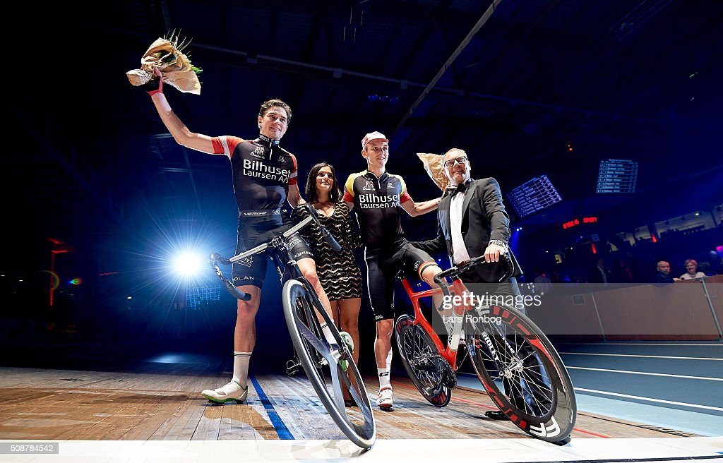 Jasper De Buyst and Marc Hester celebrate the leading after day three at the Copenhagen Six Days Race Cycling at Ballerup Super Arena on February 6, 2016 in Ballerup, Denmark.
