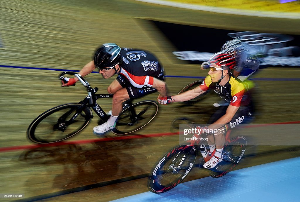Jasper De Buyst and Marc Hester in action during day two at the Copenhagen Six Days Race Cycling at Ballerup Super Arena on February 5, 2016 in Ballerup, Denmark.
