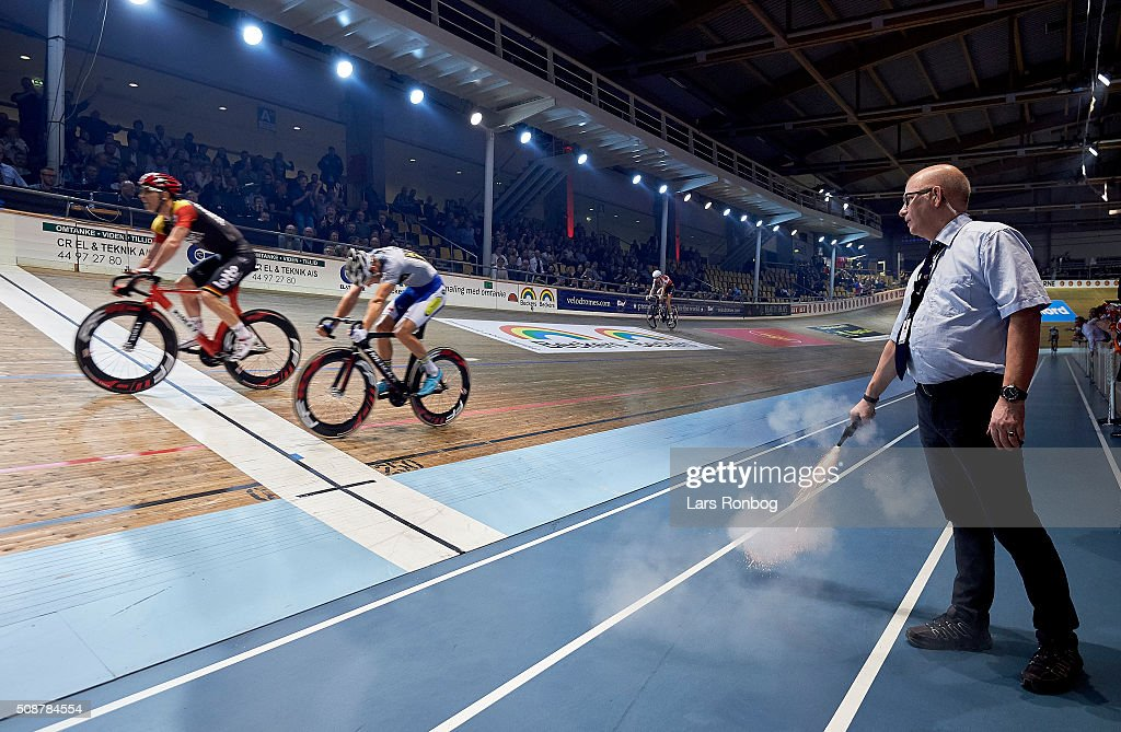 Jasper De Buyst wins the last madison during day three at the Copenhagen Six Days Race Cycling at Ballerup Super Arena on February 6, 2016 in Ballerup, Denmark.