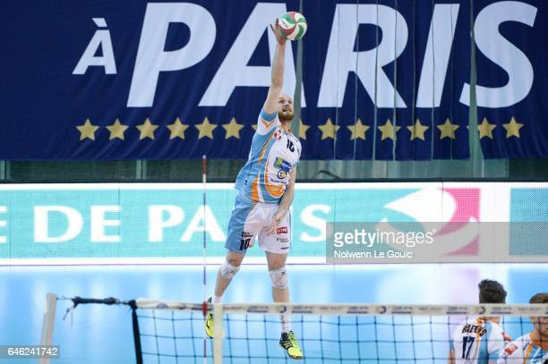 Jasper Diefenbach of Nantes during the volleyball Ligue A match between Paris Volley and Nantes Reze at Salle Pierre Charpy on February 23 2017 in...