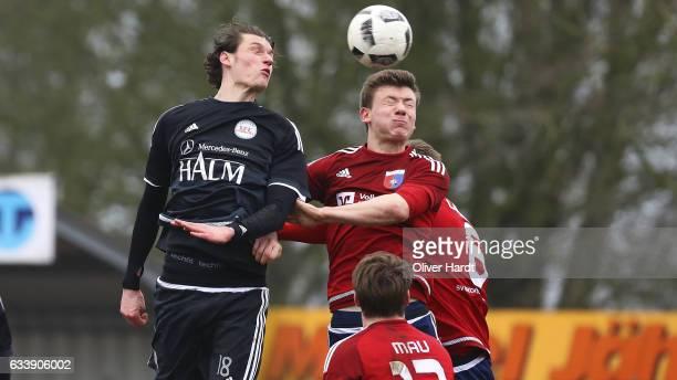Jasper Goossen of Drochtersen and Marek Waldschmidt of Egetorf competes for the ball during the Regionalliga Nord match SV Drochtersen Assel and 1 FC...