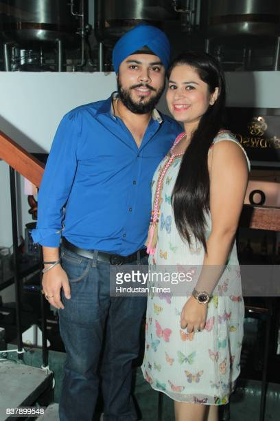 Jaspreet Singh owner The Classroom with wife Deepika Madan during the comedy night organised by The Classroom RestroBar at Leisure Valley Road...