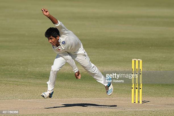Jasprit Bumrah of India A bowls during the Quadrangular Series match between Australia A and India A at Allan Border Field on July 7 2014 in Brisbane...