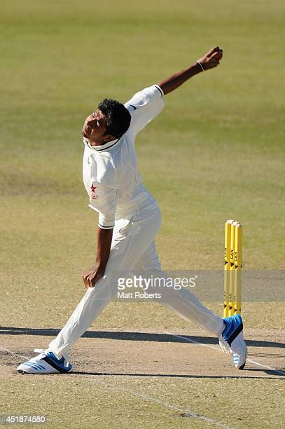 Jasprit Bumrah of India A bowls during the Quadrangular Series match between Australia A and India A at Allan Border Field on July 9 2014 in Brisbane...