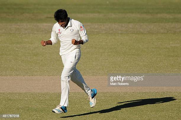 Jasprit Bumrah of India A celebrates the wicket of Peter Forrest of Australia A during the Quadrangular Series match between Australia A and India A...