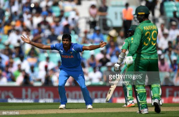 Jasprit Bumrah of India appeals during the ICC Champions Trophy Final between India and Pakistan at The Kia Oval on June 18 2017 in London England