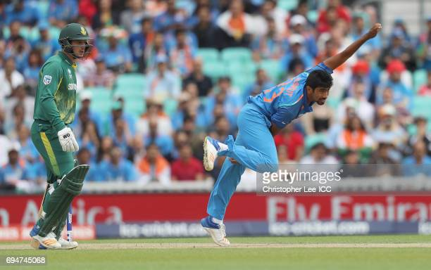 Jasprit Bumrah of India bowling during the ICC Champions Trophy Group B match between India and South Africa at The Kia Oval on June 11 2017 in...
