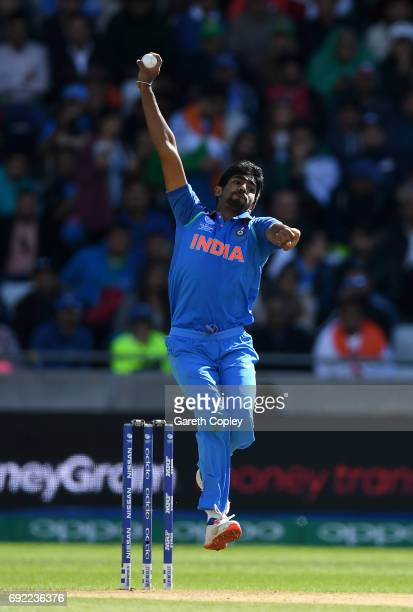 Jasprit Bumrah of India bowls during the ICC Champions Trophy match between India and Pakistan at Edgbaston on June 4 2017 in Birmingham England