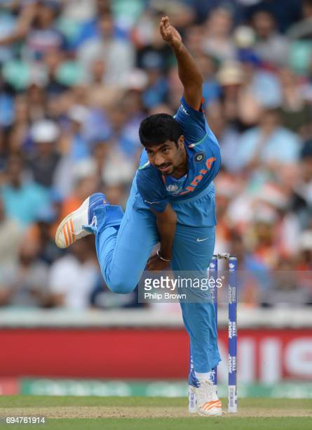 Jasprit Bumrah of India bowls during the ICC Champions Trophy match between India and South Africa at the Kia Oval cricket ground on June 11 2017 in...