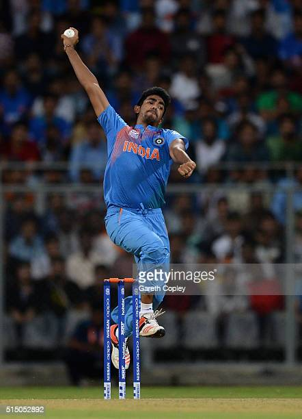 Jasprit Bumrah of India bowls during the ICC Twenty20 World Cup warm up match between India and South Africa at Wankhede Stadium on March 12 2016 in...