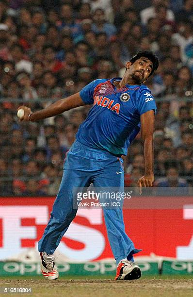 Jasprit Bumrah of India bowls during the ICC World Twenty20 India 2016 match between Pakistan and India at Eden Gardens on March 19 2016 in Kolkata...