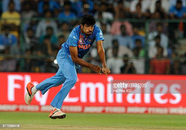 Jasprit Bumrah of India bowls during the ICC World Twenty20 India 2016 match between India and Bangladesh at the Chinnaswamy stadium on March 23 2016...