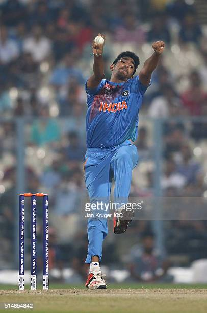 Jasprit Bumrah of India bowls during the ICC World Twenty20 warm up match between India and West Indies at Eden Gardens on March 10 2016 in Kolkata...