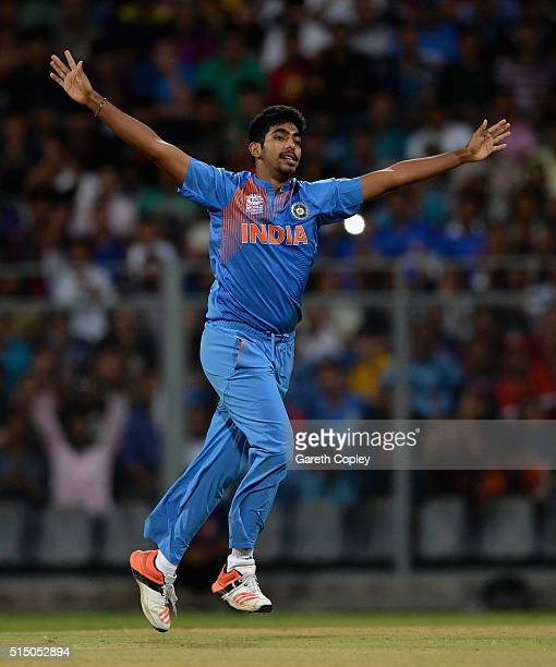 Jasprit Bumrah of India celebrates dismissing Hashim Amla of South Africa during the ICC Twenty20 World Cup warm up match between India and South...