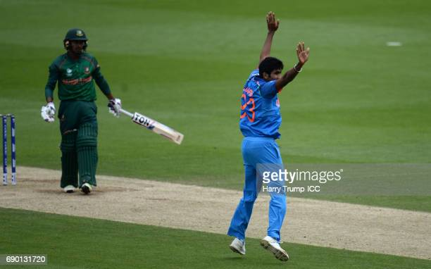 Jasprit Bumrah of India celebrates the wicket of Mehedi Hasan Miraz of Bangladesh during the ICC Champions Trophy Warmup match between India and...