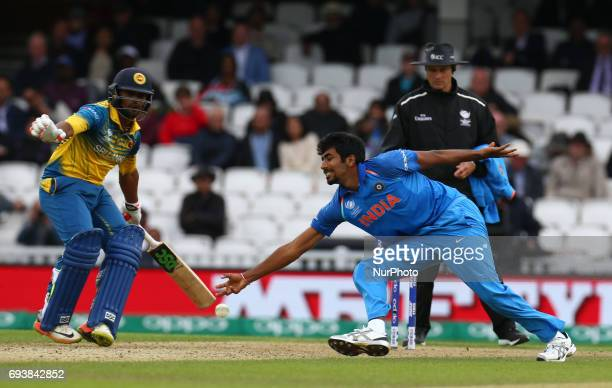 Jasprit Bumrah of India during the ICC Champions Trophy match Group B between India and Sri Lanka at The Oval in London on June 08 2017