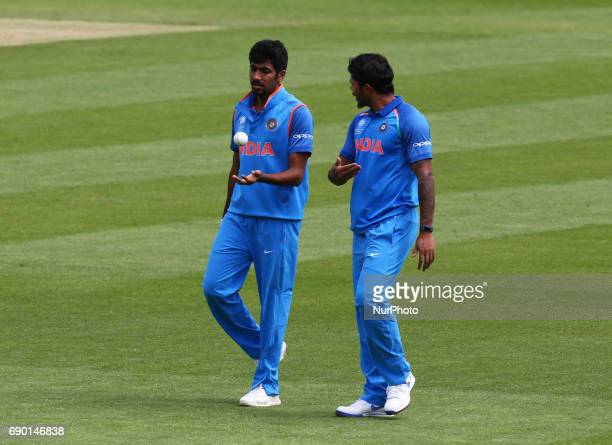 Jasprit Bumrah of India during the ICC Champions Trophy Warmup match between India and Bangladesh at The Oval in London on May 30 2017