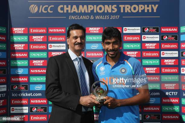 Jasprit Bumrah of India is presented with his Man of the Match award during the ICC Champions Trophy Group B match between India and South Africa at...