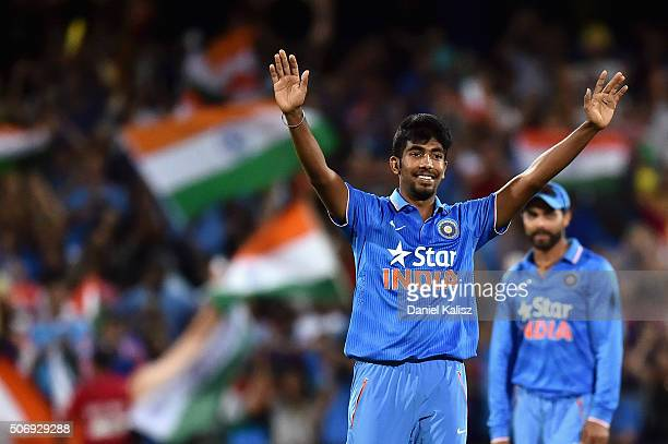 Jasprit Bumrah of India reacts after taking the wicket of Cameron Boyce of Australia and to win the game for India during game one of the Twenty20...