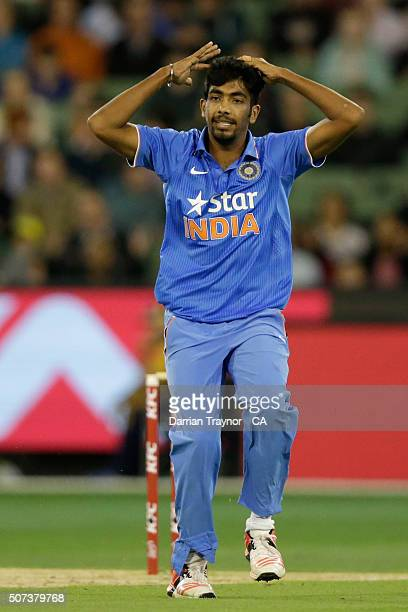 Jasprit Bumrah of India reacts during the International Twenty20 match between Australia and India at Melbourne Cricket Ground on January 29 2016 in...