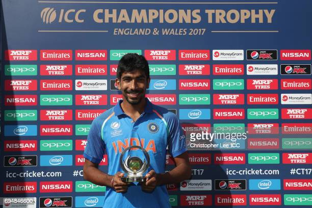 Jasprit Bumrah of India with his Man of the Match award during the ICC Champions Trophy Group B match between India and South Africa at The Kia Oval...